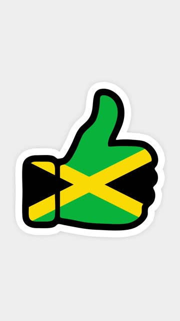 vertical screen, Vertical format. Drawing, animation is in form of like, heart, chat, thumb up with the image of Jamaica flag . White background