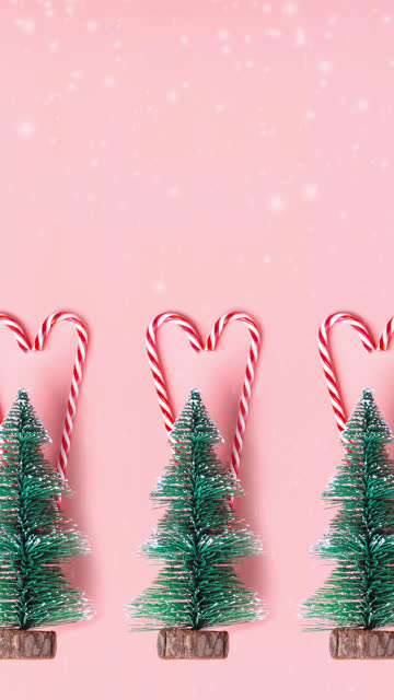 vídeos de stock e filmes b-roll de vertical tree christmas tree with candy cane hanging on pastel pink wall with white merry christmas word.holiday festive celebration greeting card - vertical