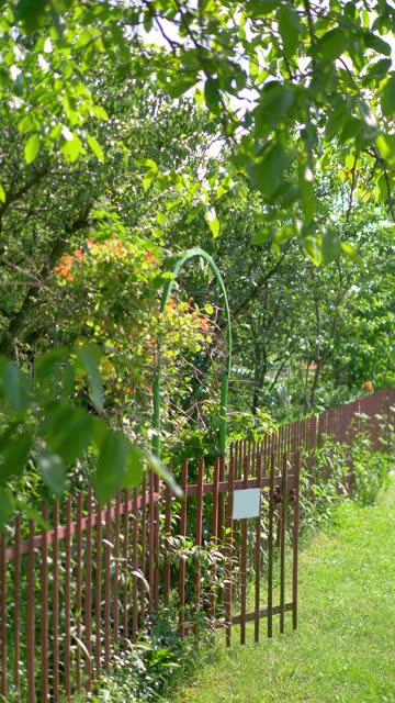 Vertical video of entrance to vegetable garden in 4k slow motion 60fps video