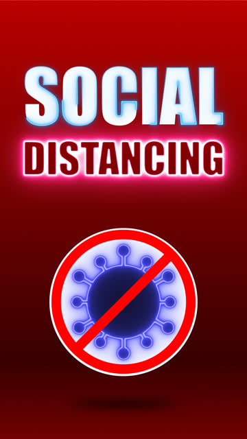 Vertical video : SOCIAL DISTANCING Vertical video : covid-19 safety and security symbol. SOCIAL DISTANCING word and stop coronavirus 2019 icon symbol. neon lights animation trendy. looped motion graphic. covid icon stock videos & royalty-free footage