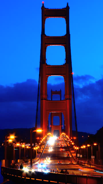 Vertical view of Golden Gate Bridge video