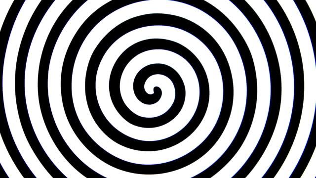 vertigo spiral black and white spinning swirl - spirale ricciolo video stock e b–roll