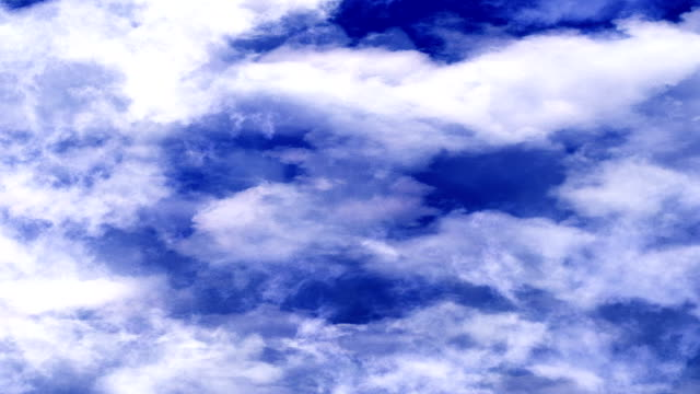 Very Blue Bright Clouds Moving In Horizontal Direction video