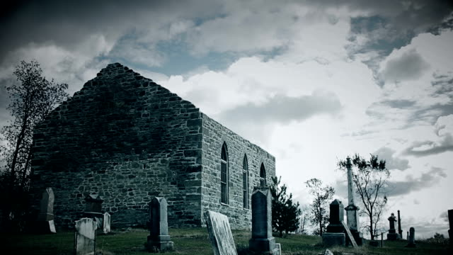 Very Dark and Sullen Abandoned Church and Cemetery