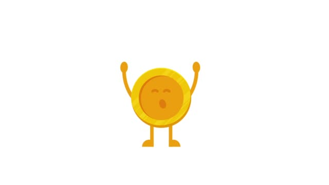 vídeos de stock e filmes b-roll de very fun golden coin. cash prize. flying confetti - characters