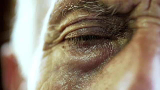 very old man eye closeup: elderly, senior, aged video