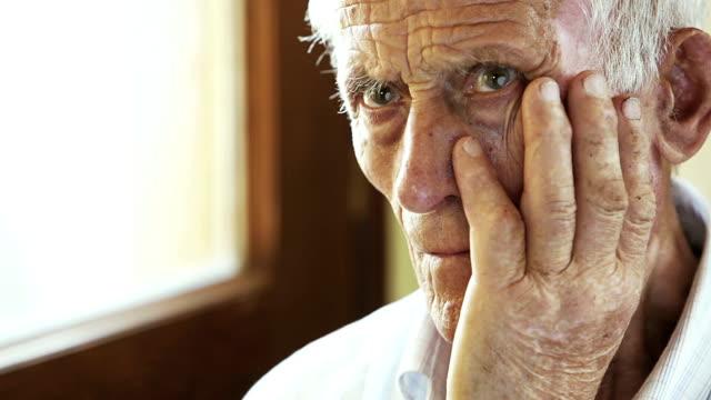 very old man portrait: aged, elderly, loneliness, senior, sad video