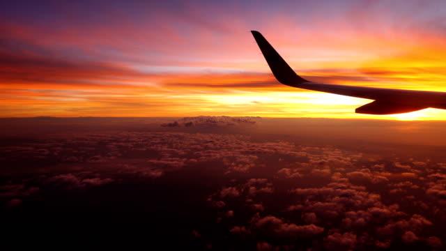 very very beautiful flight of airplane wing taken from window view - skrzydło samolotu filmów i materiałów b-roll