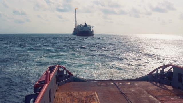 AHTS vessel doing static tow tanker lifting. Ocean tug job video