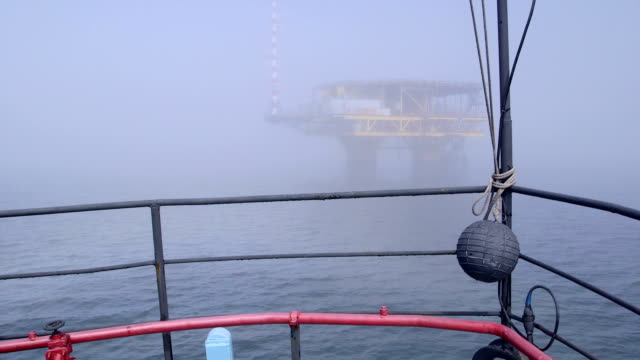 Vessel moving to offshore gas platform video