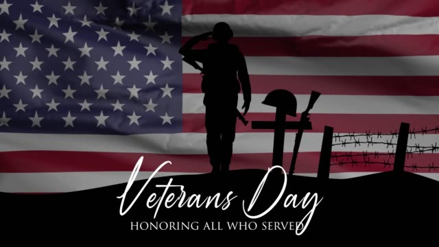 veterans day, honoring all who served, american flag, hd animation, web 4k banner. - veterans day filmów i materiałów b-roll