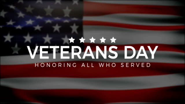 veterans day, honoring all who served, usa flag, hd animation, web 4k banner - veterans day filmów i materiałów b-roll