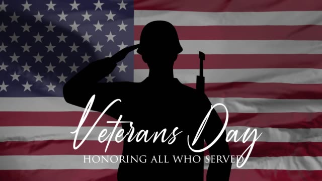veterans day, honoring all who served, usa flag, hd animation, web 4k banner. - veterans day filmów i materiałów b-roll