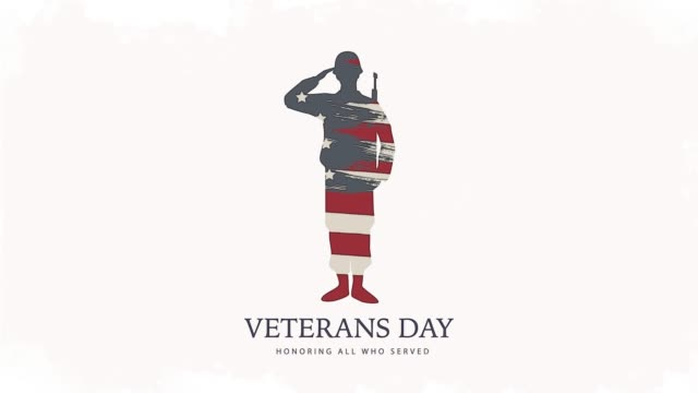veterans day, honoring all who served. usa soldier isolated on white 4k banner. - veterans day filmów i materiałów b-roll