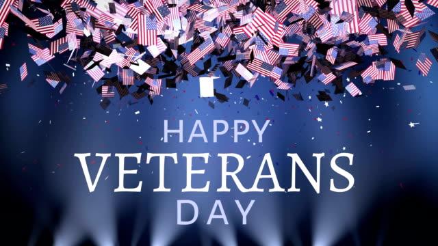 하늘에서 떨어지는 미국 국기와 재향 군인의 날 - veterans day 스톡 비디오 및 b-롤 화면