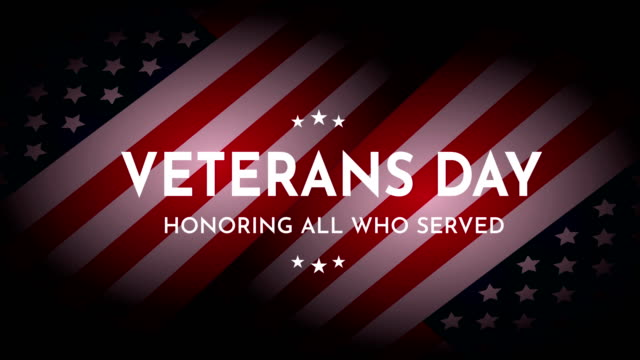 Veterans Day with USA flag. Honoring all who served. Animation