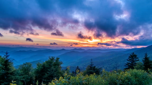 Vibrant Blue Ridge Mountain Sunset video