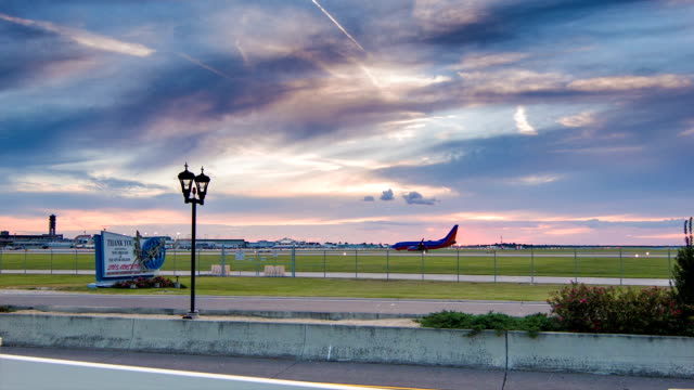 Vibrant New Orleans Sky at Airport during Sunset