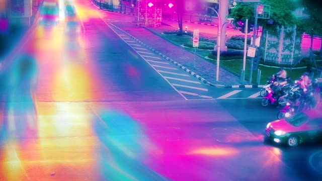 Vibrant toned traffic video