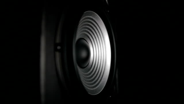 Vibrating Working Speaker Closeup of a silver vibrating working speaker. Filmed on Panasonic Lumix GH4 in 96fps. speaker stock videos & royalty-free footage