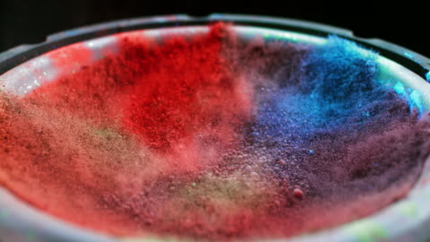 SLO MO Vibration mixing colored powder Slow motion close up shot of dust in different colors being mixed together by the vibration of the speaker membrane. 4k stock videos & royalty-free footage