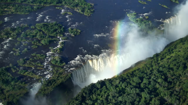 Victoria falls. Aerial view. Victoria waterfall is one of the Seven Natural Wonders of the world. Aerial shot. botswana stock videos & royalty-free footage