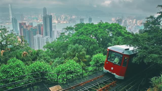 victoria peak tram in hong kong - tranvia video stock e b–roll