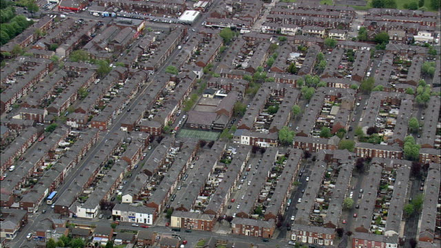 Victorian Terraced Housing In Preston  - Aerial View - England, Lancashire, Preston District, United Kingdom This clip was filmed by Skyworks on HDCAM SR 4:4:4 using the Cineflex gimbal. back to back stock videos & royalty-free footage