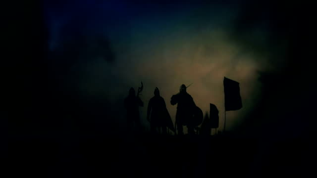 Victorious Medieval Nights Around Their Motivated Army Getting Wild Applause Under a Storm