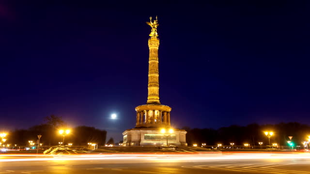 Victory Column at night, Berlin video
