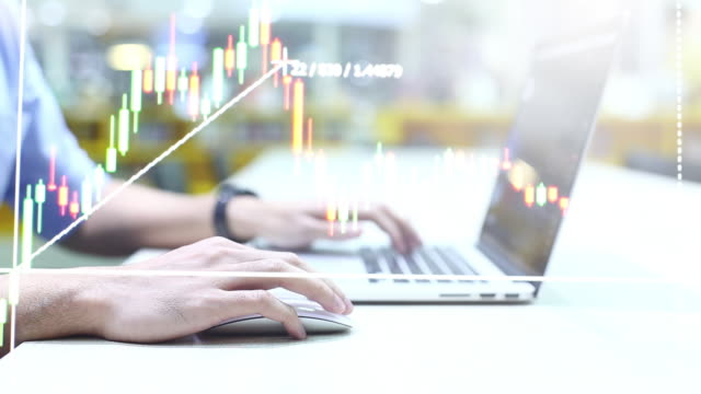WS video 4k: Double exposure of the Financial graph showing statistics for business. Financial graph showing statistics background inflation stock videos & royalty-free footage