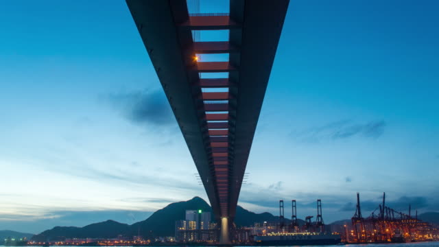 HONG KONG, video 4K timelapse,Heavy machinery work on industrial site of commercial port and container terminal. Hong Kong global trade background video