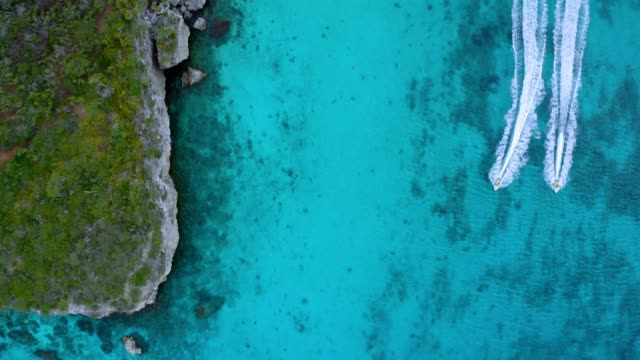 4K Video Aerial View of Nautical Vessel in Caribbean Sea, Curacao