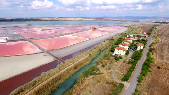 4K Video Aerial view of red salt mines video