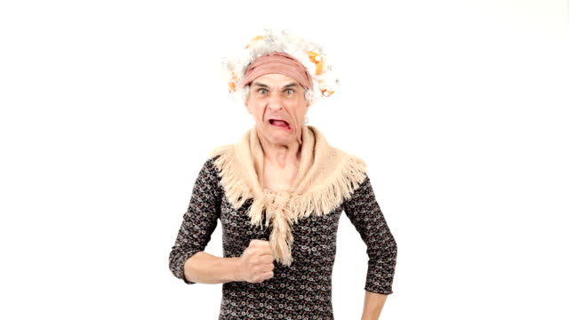 HD Video angry funny senior woman grandma video