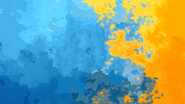 video animated stained background blue and yellow colored abstract backdrop video with watercolor effect - sky and sun color mottled stock videos & royalty-free footage