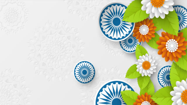 4k video animation för nationella helgdagar i indien. - saffron on white bildbanksvideor och videomaterial från bakom kulisserna
