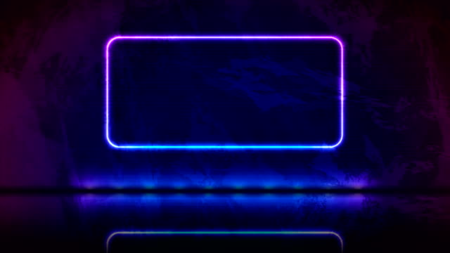 video animation of neon frame on blue violet grunge background - intelaiatura video stock e b–roll