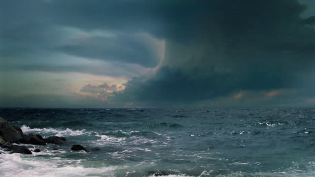 Video background. Supercell thunderstorm, sea storm with multiple lightning flashes.