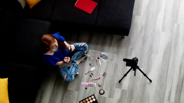 Video Blogger Vlogger Girl Working From Home As Web Influencer video