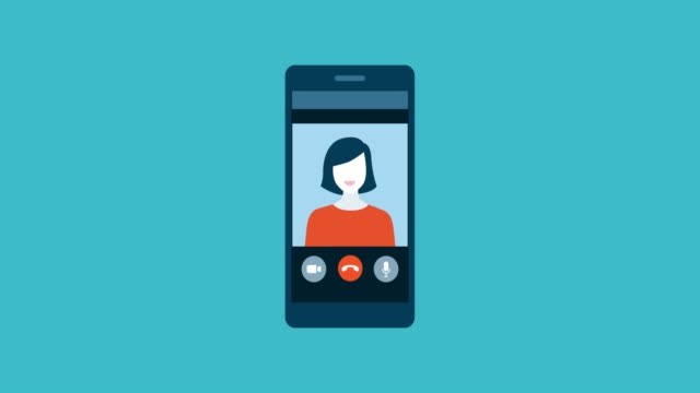 video call with a friend on a smartphone - rispondere video stock e b–roll