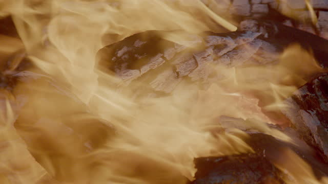 A Video Clip Closeup Of A Blazing Hot Bonfire At Night, Out In The Desert Of Monument Valley, Utah, Arizona