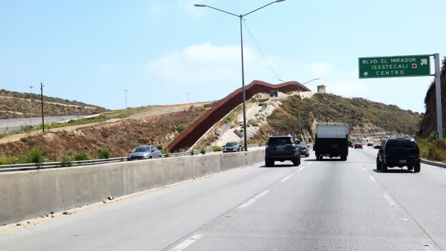 Video Clip Near The International Border Wall From The Freeway In Playas Tijuana, Mexico