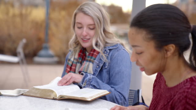 A Video Clip Of a Group of Multiple Race Students Having A Discussion And Studying The Bible
