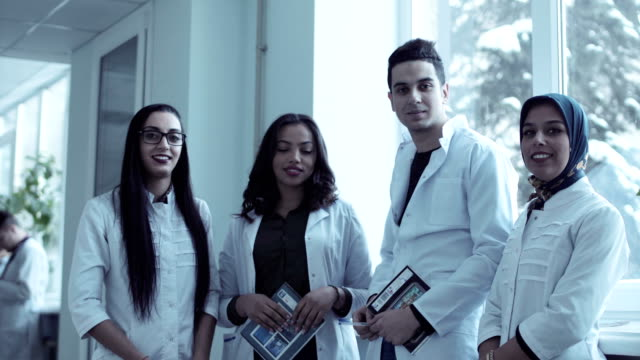 Video clip of four young medical students video