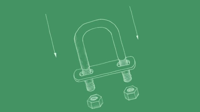 Video Clip Sketch of An U Bolt on Blueprint Manufacturing and Industry, Motion Clip of Illustration Hand Drawn Sketch of U Bolt. A Type of Fastener Used with Nuts to Hold Pipes for Support Pipework. bolt fastener stock videos & royalty-free footage