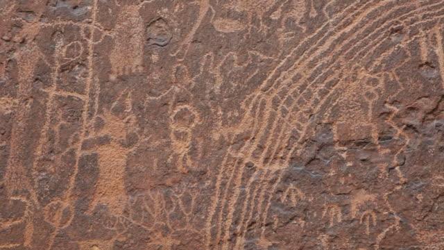 HD video close-up rock art panel Rochester petroglyphs Utah video