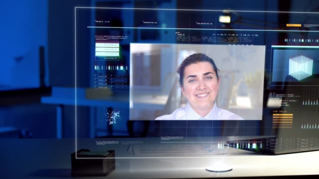 video conference on virtual screen at night office - vídeo