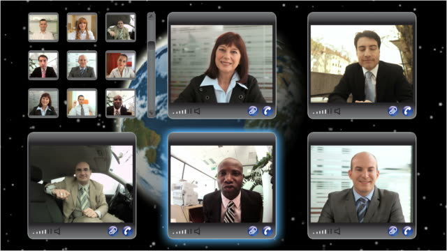 montaggio hd: videoconferenza - videoconferenza video stock e b–roll