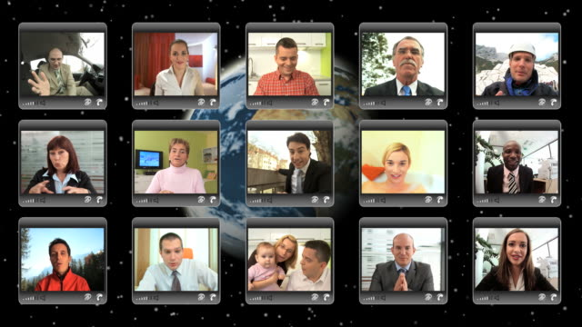 montaggio hd: videoconferenza - montaggio in sequenza video stock e b–roll
